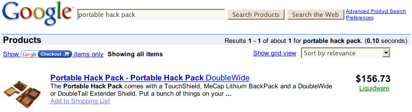 Google Product Search For Hack Pack